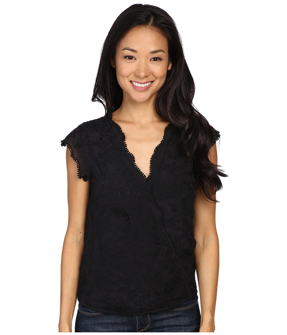 Lucky Brand - Embroidered Cross Front Top (Lucky Black) Women's Clothing