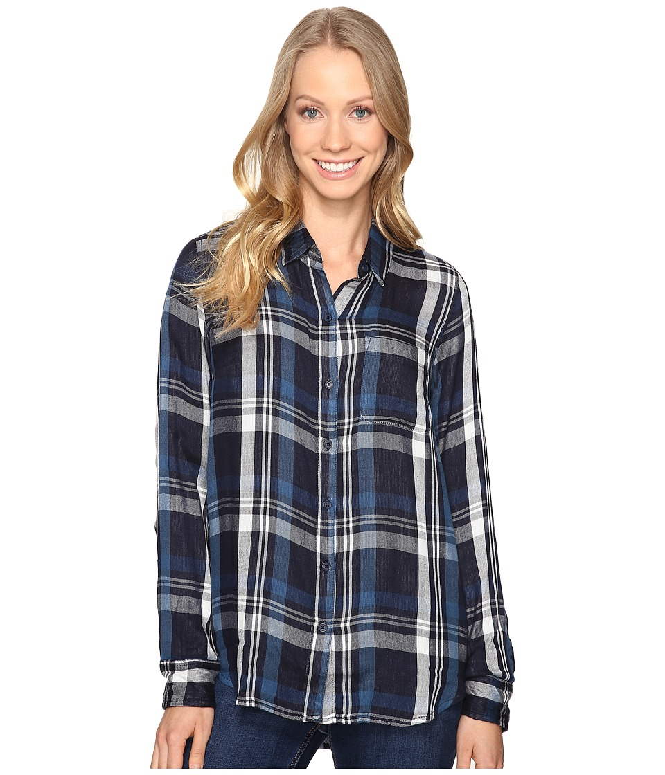 Lucky Brand - Duo Fold Plaid (Navy Multi) Women's Clothing