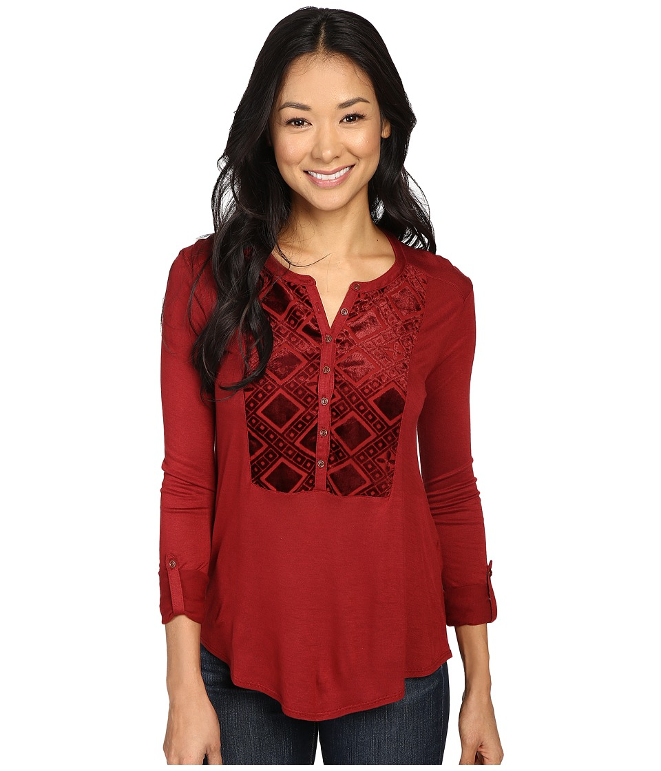 Lucky Brand - Burnout Velvet Bib Top (Merlot) Women's Clothing