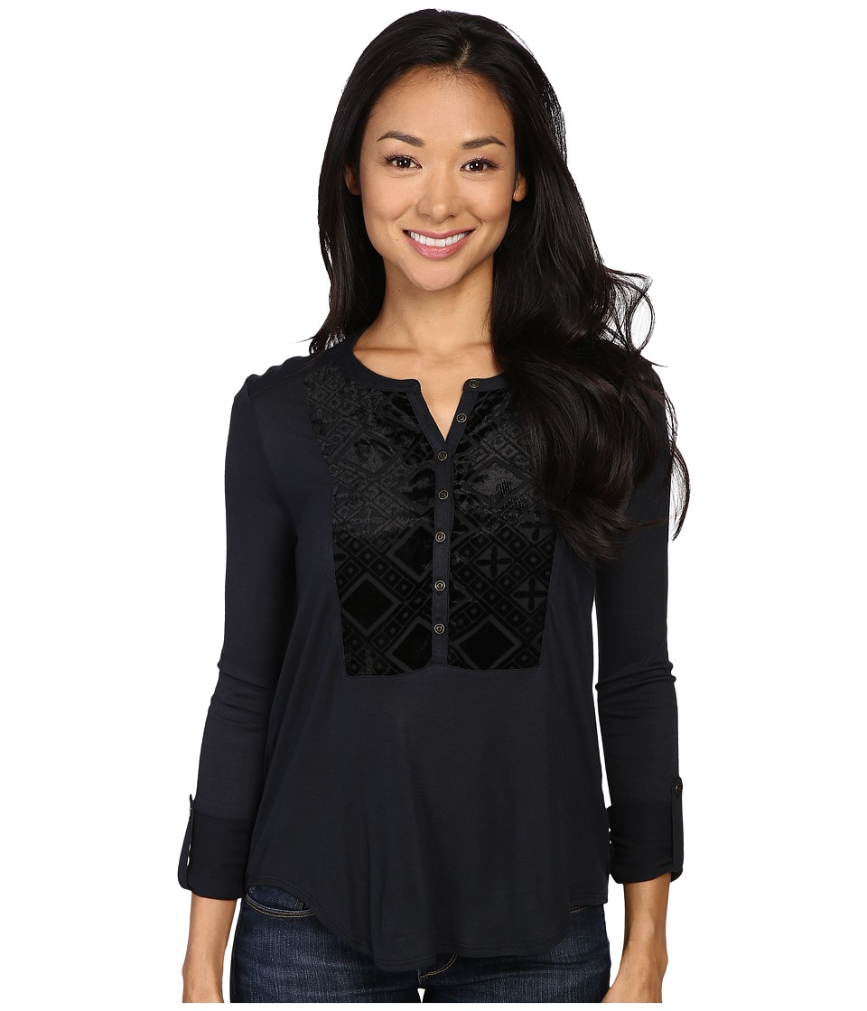 Lucky Brand - Burnout Velvet Bib Top (Jet Black) Women's Clothing