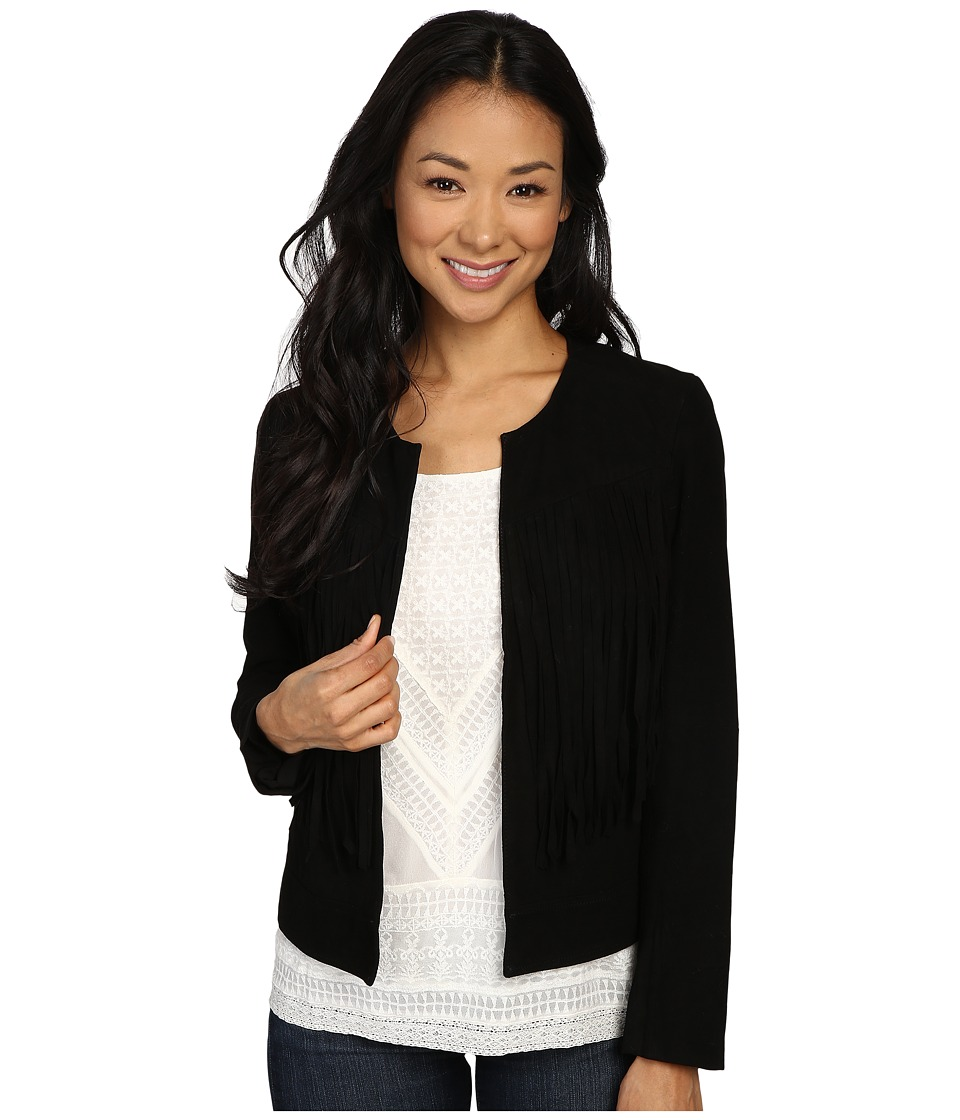 Lucky Brand - Fringe No Closure Jacket (Lucky Black) Women's Coat