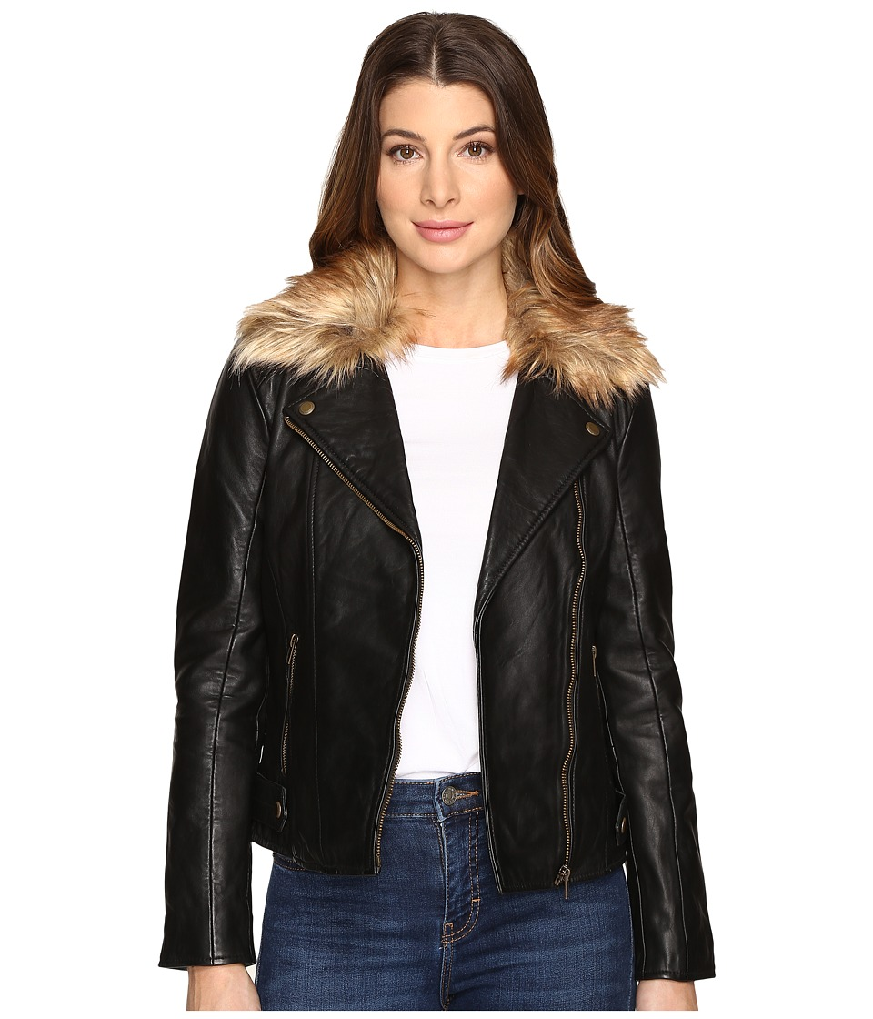 Lucky Brand - Faux-Fur Moto Jacket (Lucky Black) Women's Coat