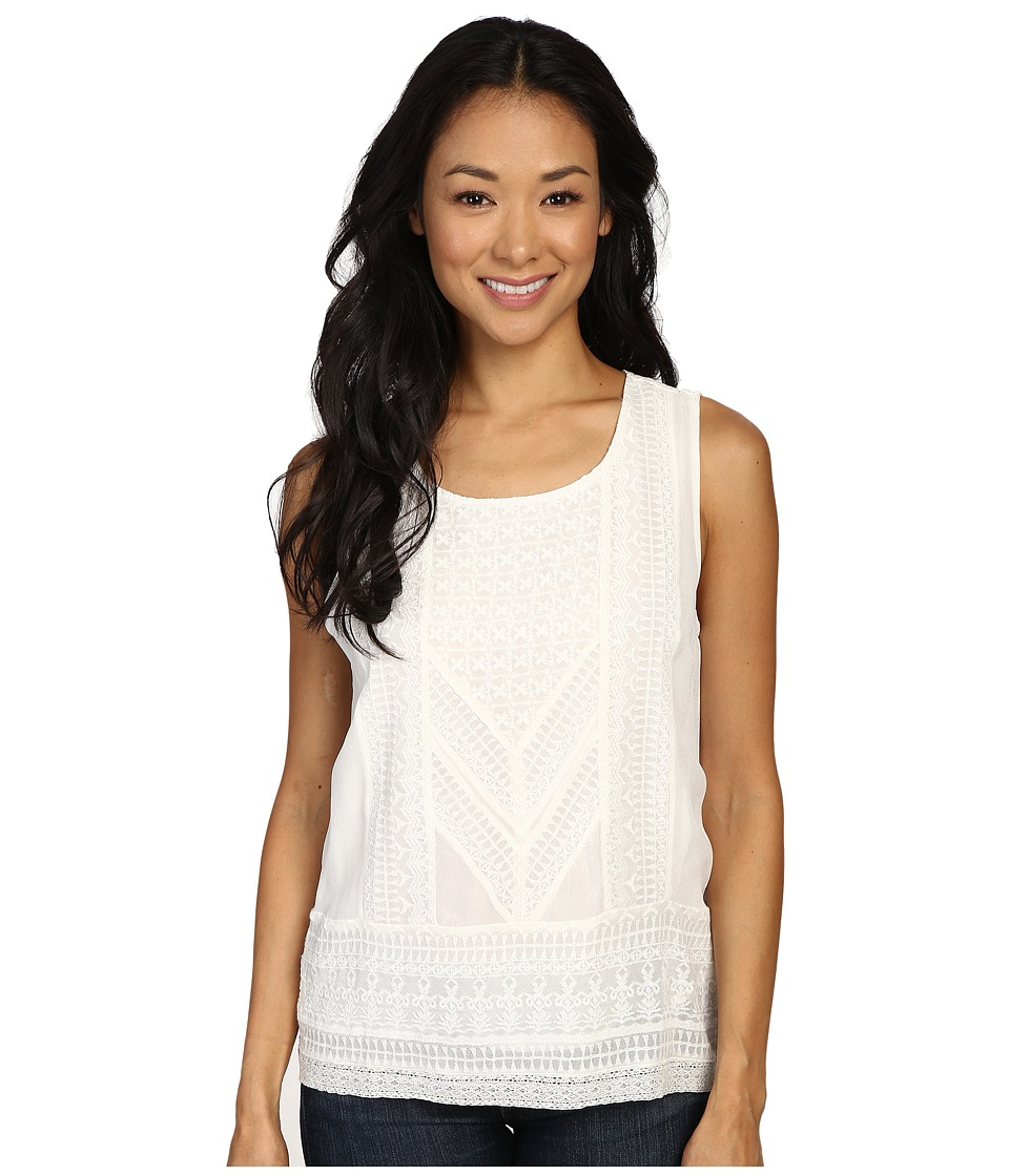 Lucky Brand - Detailed Embroidered Tank Top (Marsmallow) Women's Sleeveless