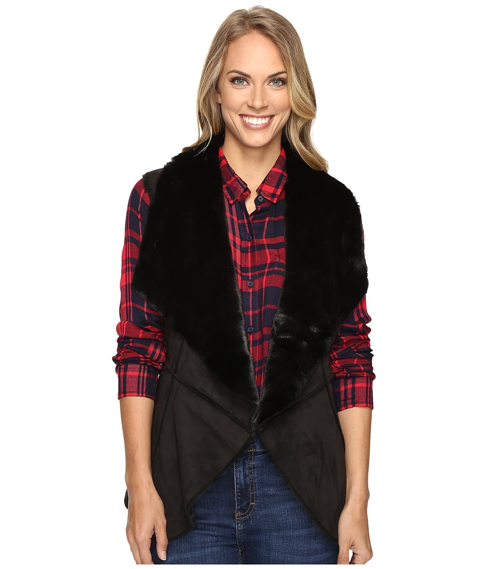 Lucky Brand - Faux Shearling Waterfall Vest (Lucky Black) Women's Vest