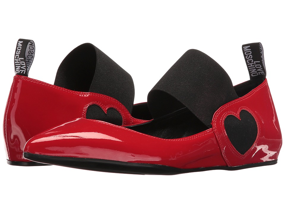 LOVE Moschino - Ballerina Shoe w/ Strap (Red) Women's Flat Shoes