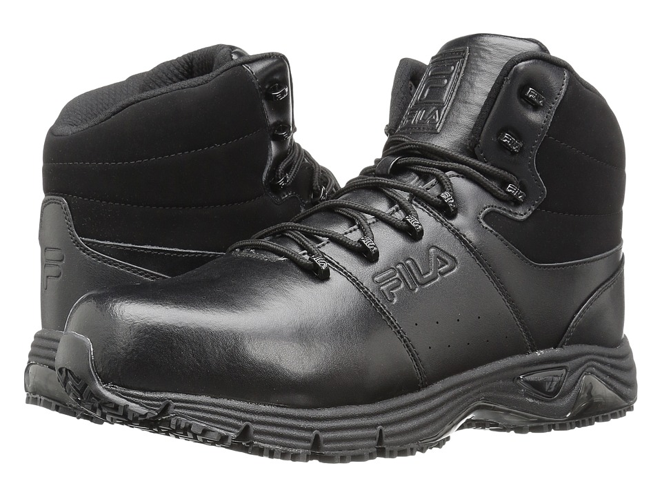 Fila Memory Breach Slip Resistant Steel Toe (Black/Black/Black) Men