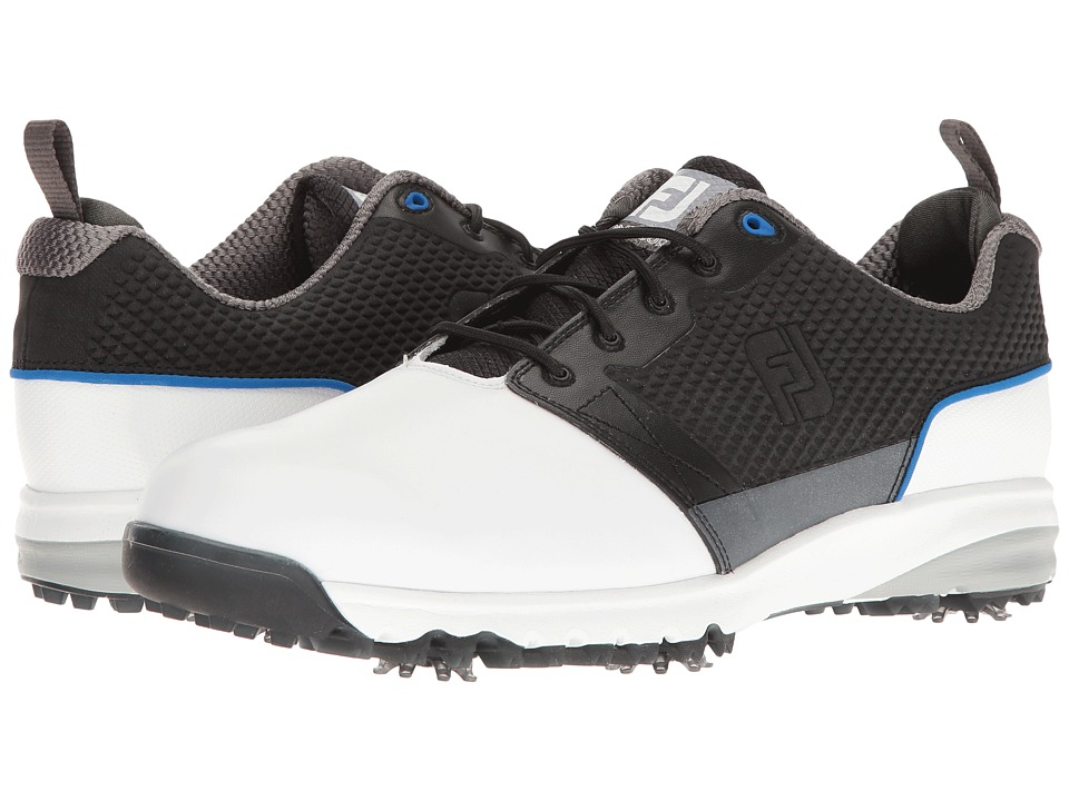 FootJoy - Contour FIT Cleated Plain Toe (White/Black) Men's Golf Shoes
