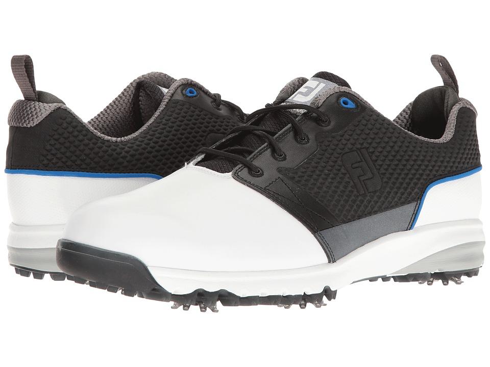 FootJoy - Contour FIT Cleated Plain Toe (White/Black) Men's Golf Shoes