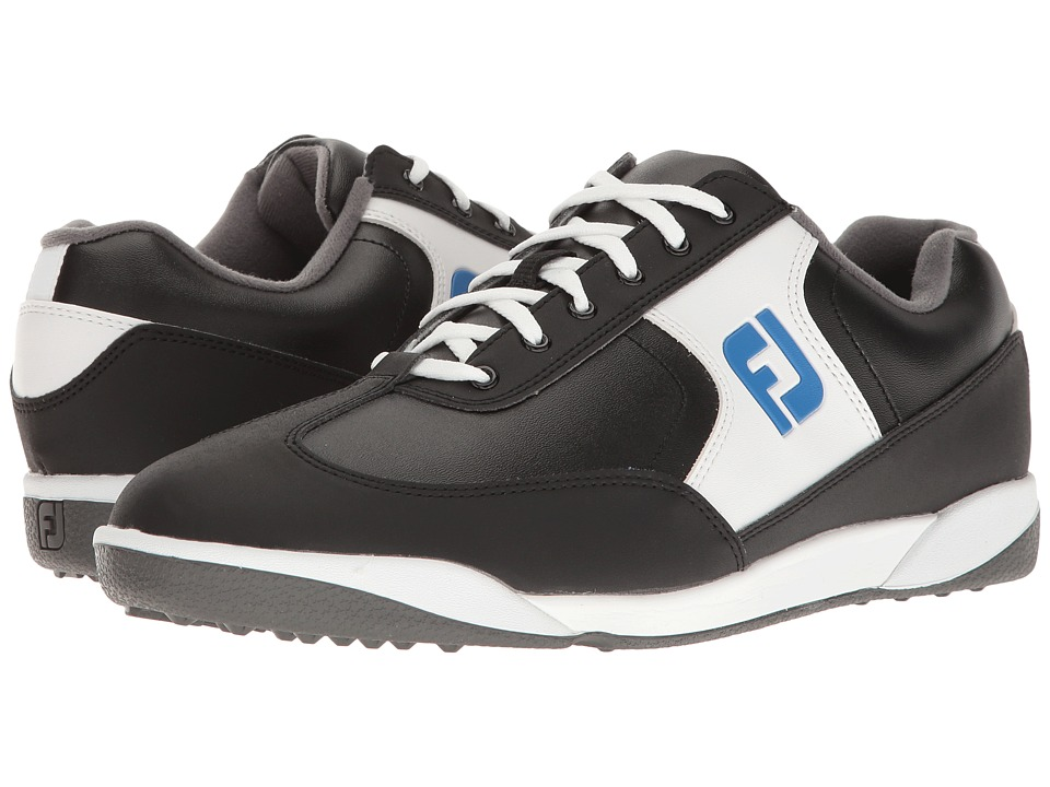 FootJoy - Greenjoys Spikeless Retro Court (Black/White/Royal) Men's Golf Shoes