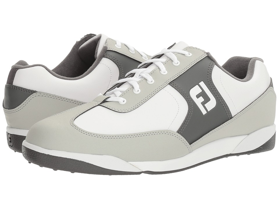 FootJoy - Greenjoys Spikeless Retro Court (White/Grey/Charcoal) Men's Golf Shoes