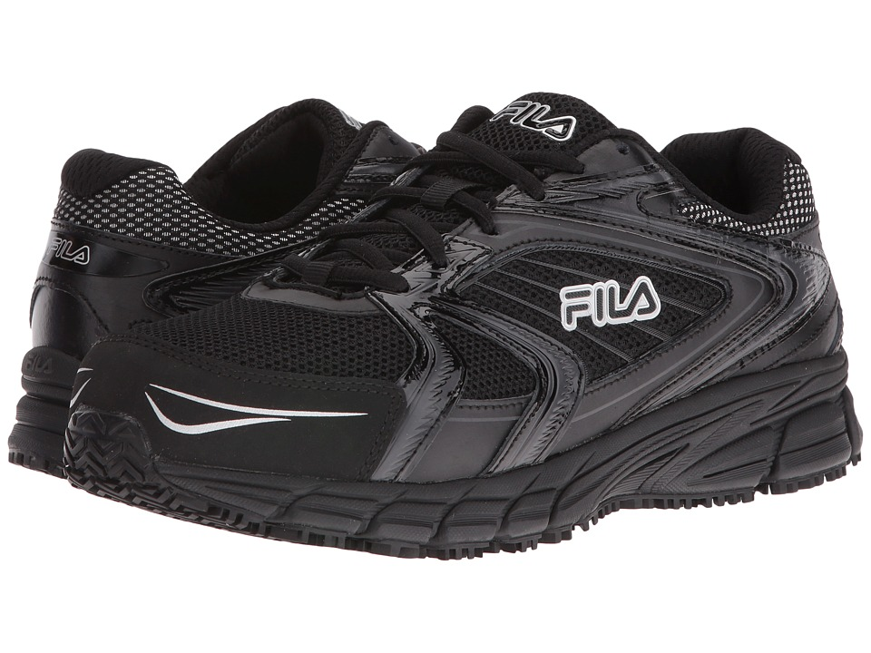 Fila Memory Reckoning 7 Slip Resistant Steel Toe (Black/Black/Metallic Silver) Men