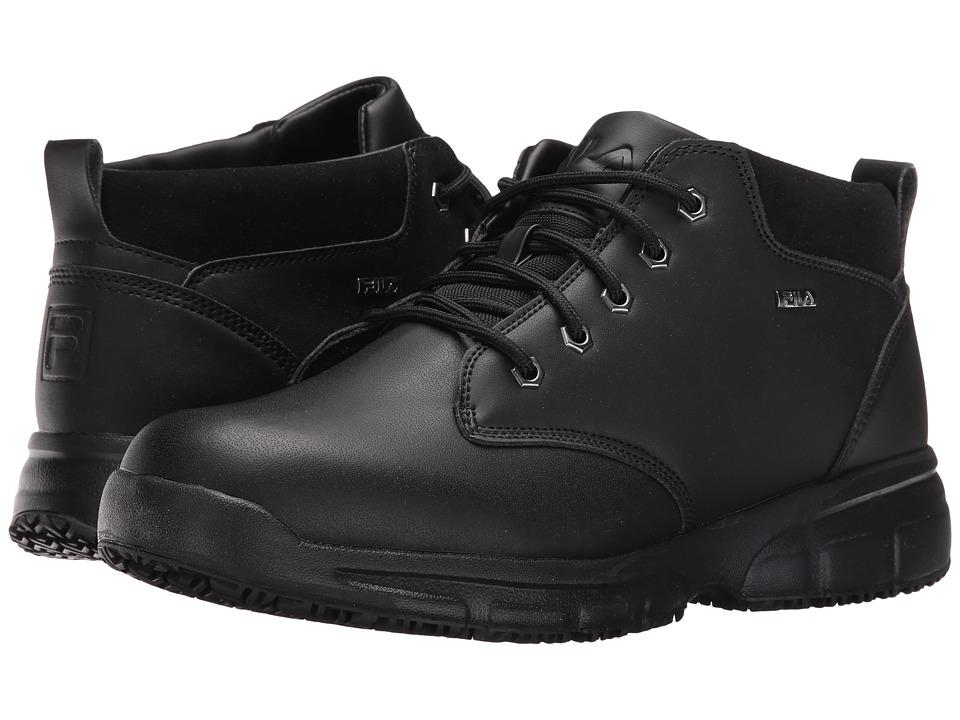 Fila Memory Mike Mid Slip Resistant (Black/Black/Metallic Silver) Men