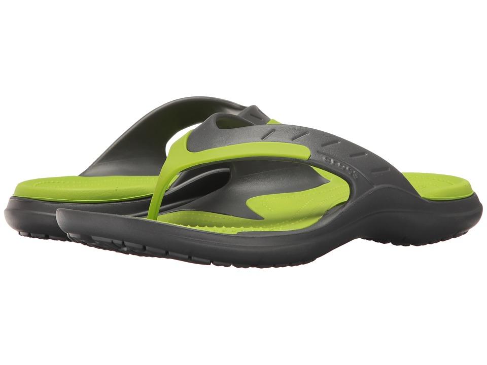 Crocs - Modi Sport Flip (Graphite/Volt Green) Men's Sandals