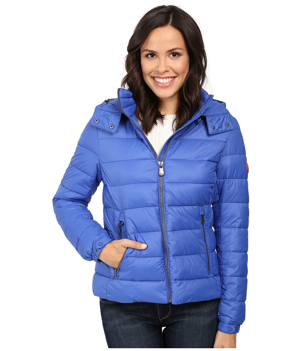 Save the Duck - Hooded Puffer Jacket (Sapphyre Blue) Women's Coat