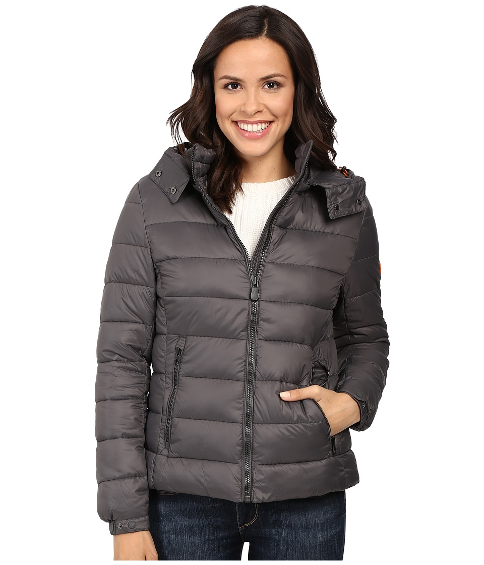 Save the Duck - Hooded Puffer Jacket (Charcoal Grey) Women's Coat