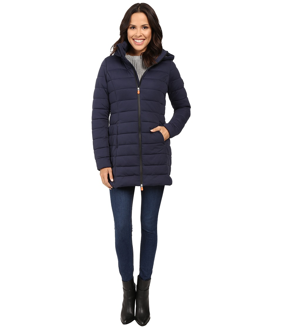Save the Duck - Hooded Stretch Puffer Long Coat (Navy Blue Melange) Women's Coat