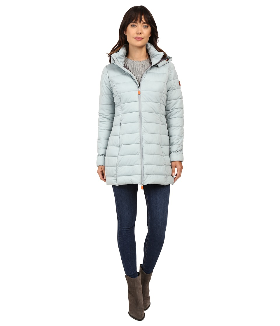 Save the Duck - Hooded Stretch Puffer Long Coat (Dusty Blue Melange) Women's Coat