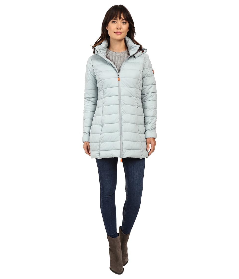Save the Duck - Hooded Stretch Puffer Long Coat (Dusty Blue Melange) Women's Coat
