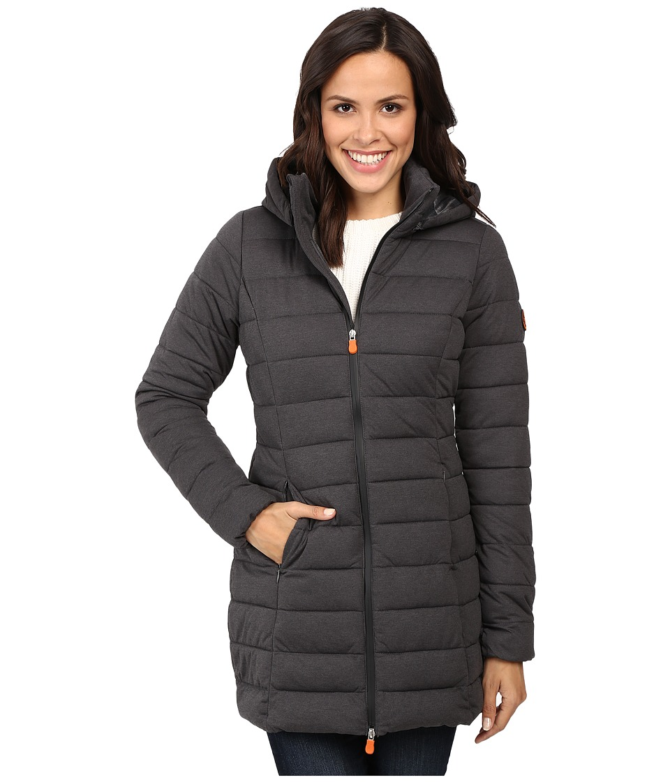 Save the Duck - Hooded Stretch Puffer Long Coat (Charcoal Grey Melange) Women's Coat