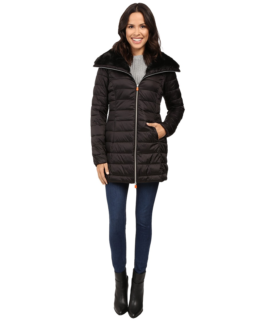 Save the Duck - Puffer Coat w/ Faux Fur Collar (Black) Women's Coat
