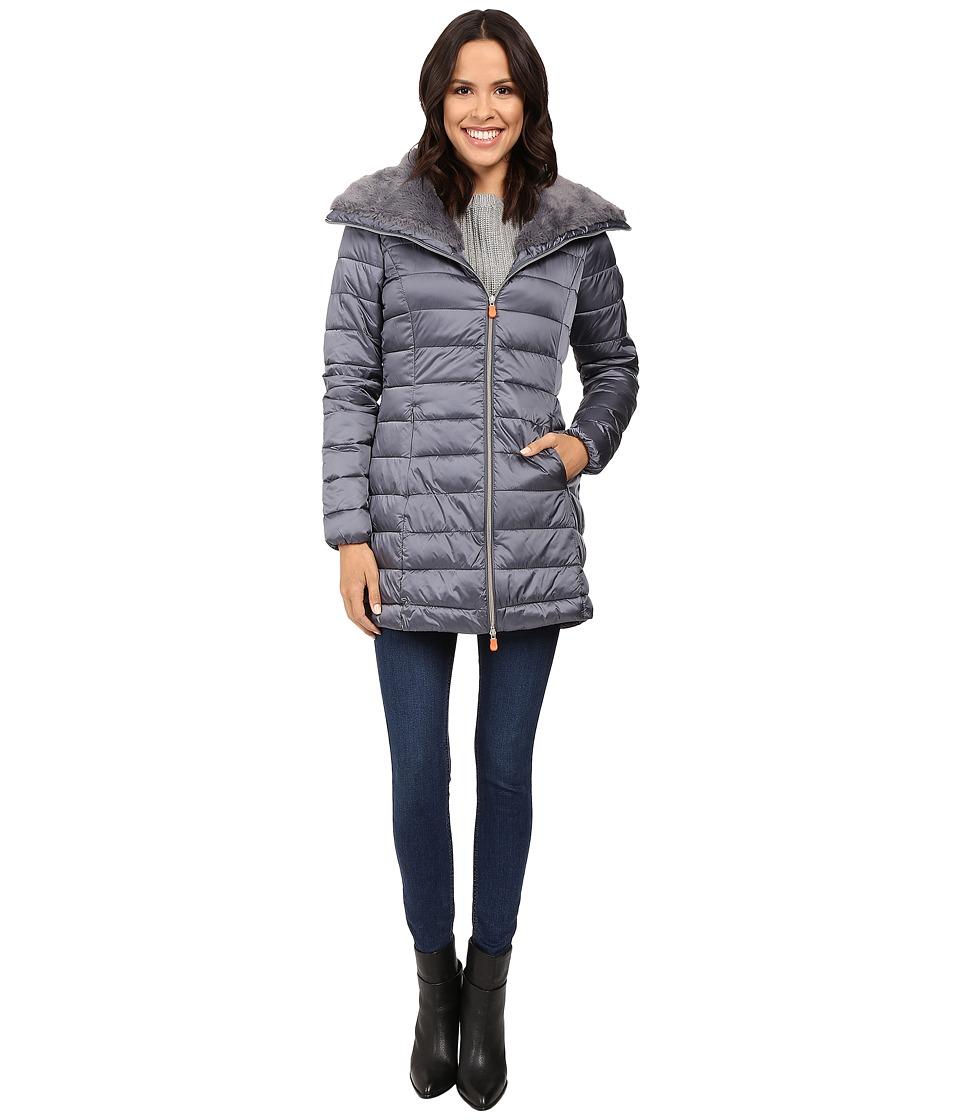 Save the Duck - Puffer Coat w/ Faux Fur Collar (Steel Grey) Women's Coat