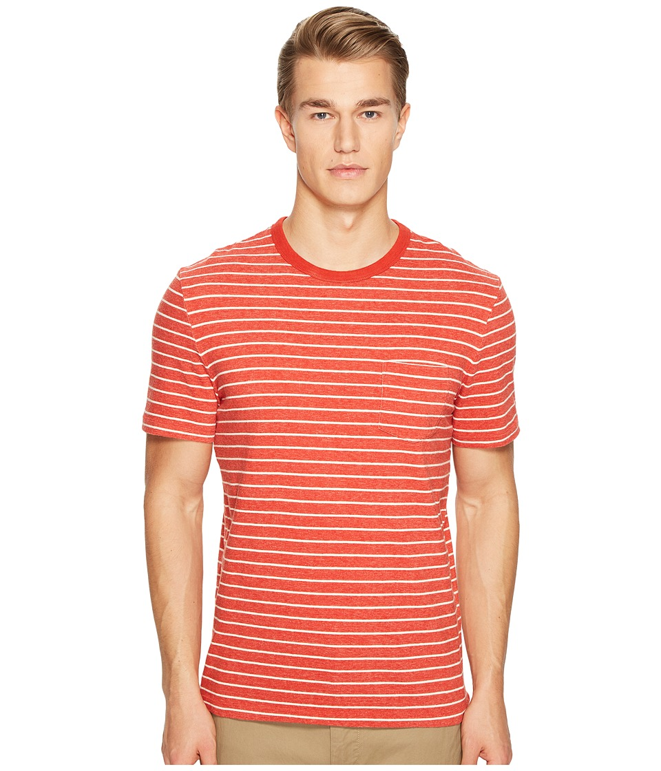 Jack Spade Short Sleeve Striped Tee (Red Orange) Men