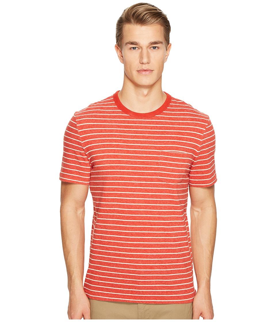 Jack Spade - Short Sleeve Striped Tee (Red Orange) Men's T Shirt