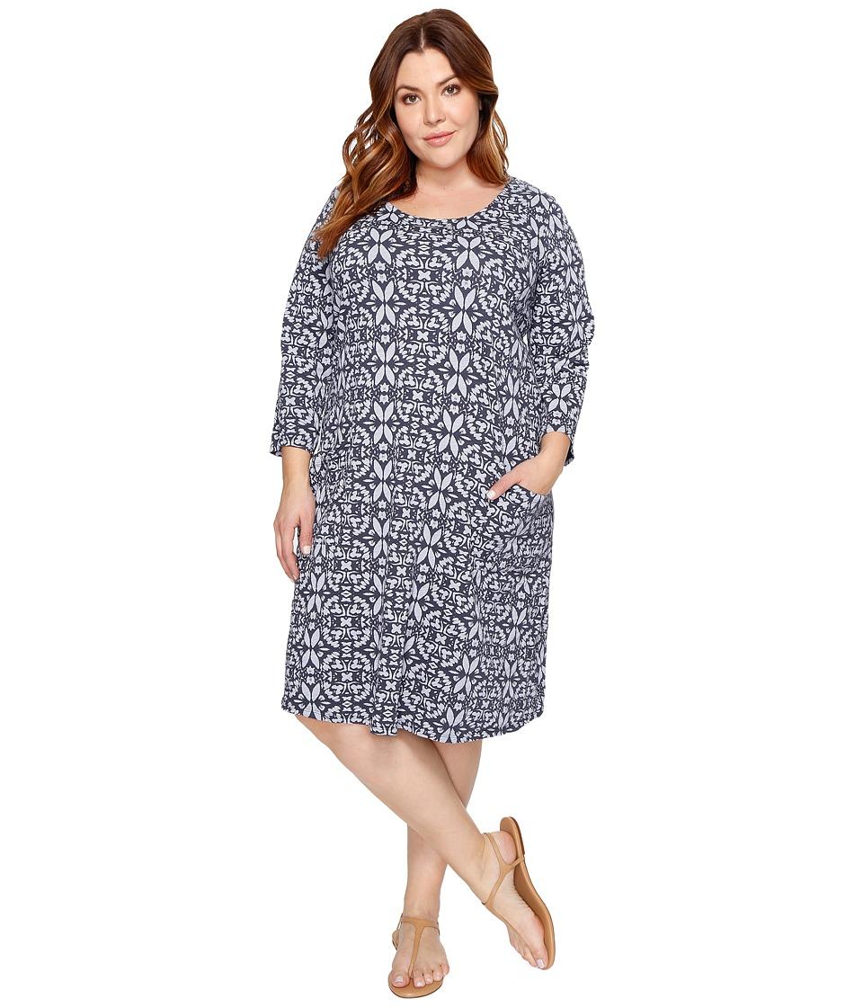 Extra Fresh by Fresh Produce - Plus Size Island Batik Dalia Dress (Charcoal Gray) Women's Dress