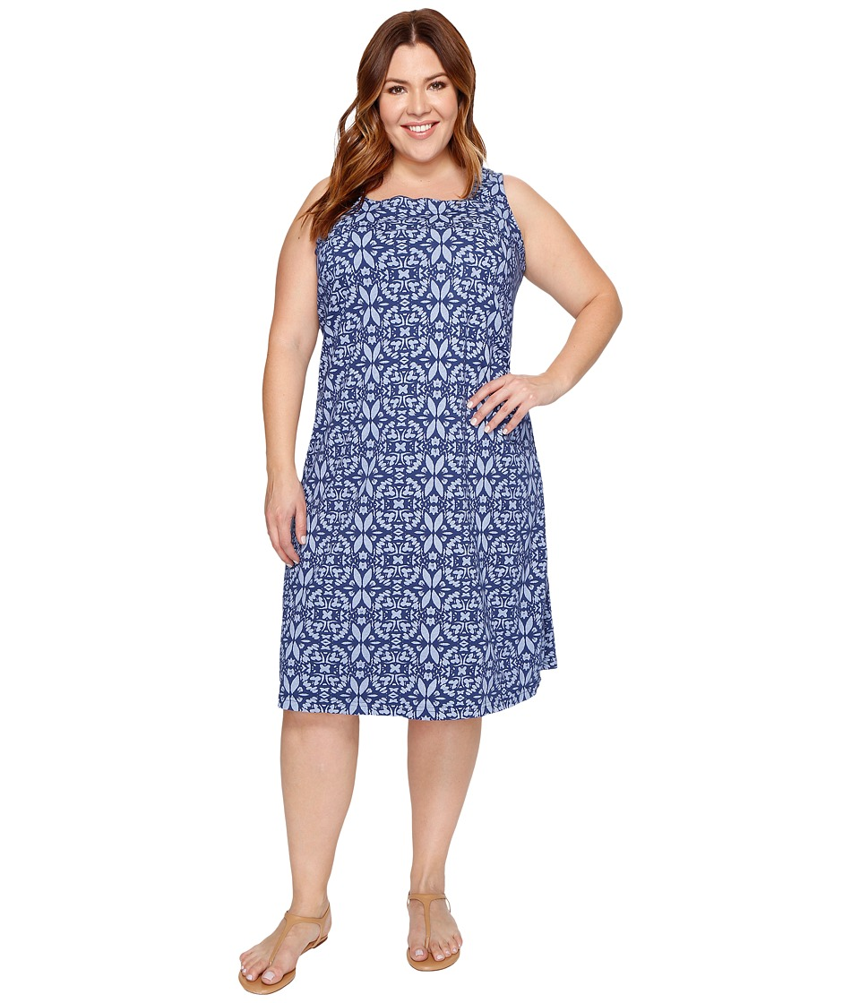 Extra Fresh by Fresh Produce - Plus Size Island Batik Square Neck Dress (Moonlight Blue) Women's Dress