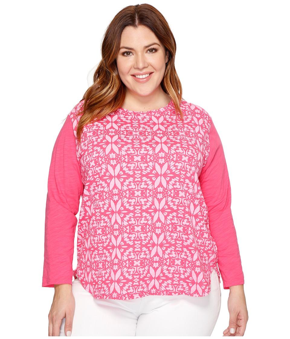 Extra Fresh by Fresh Produce - Plus Size Island Batik Catalina Mingle Top (Papaya Fruit Pink) Women's Clothing