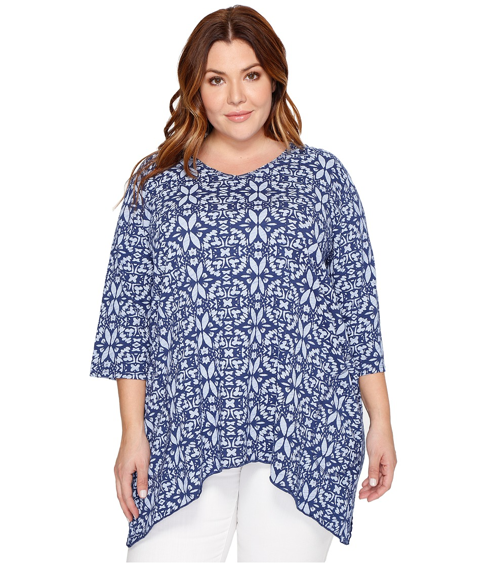 Extra Fresh by Fresh Produce - Plus Size Island Batik Santa Barbara Top (Moonlight Blue) Women's Clothing