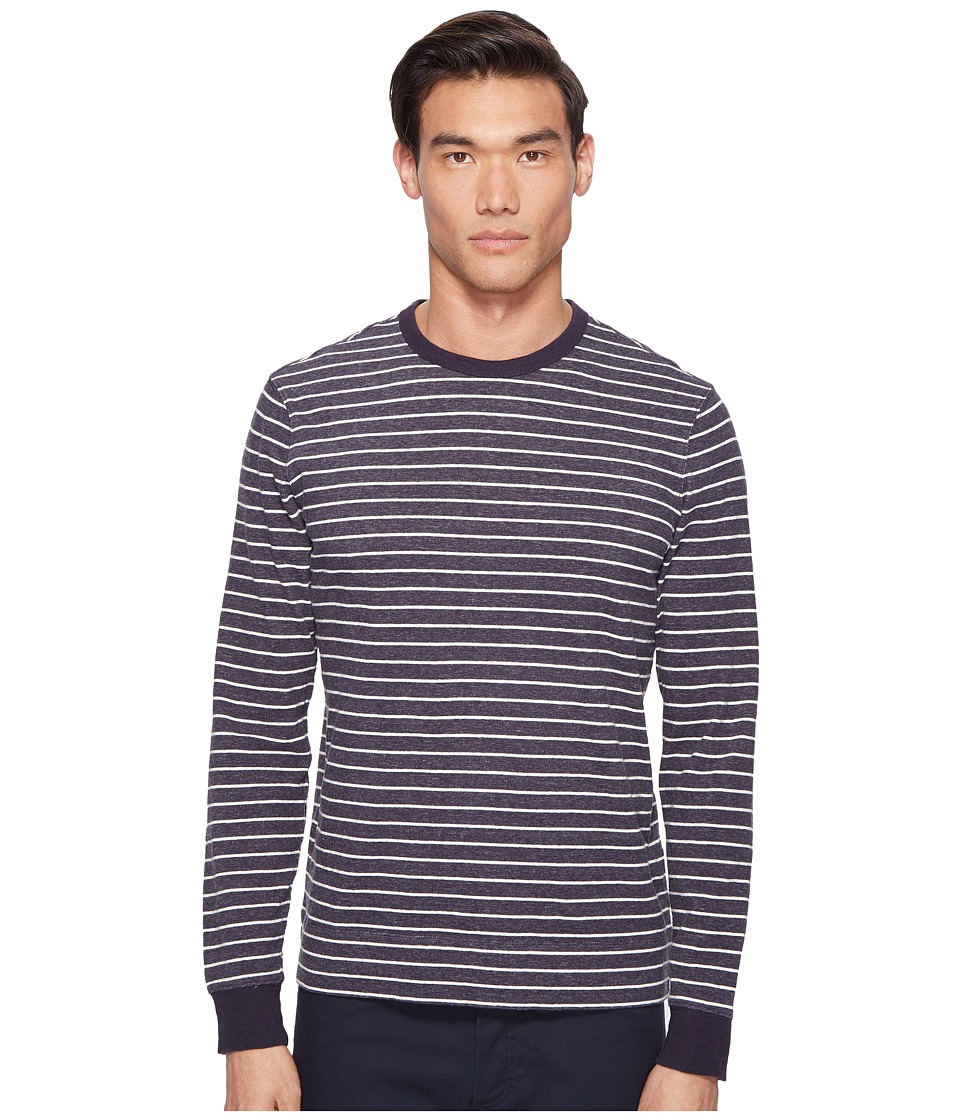Jack Spade - Striped Long Sleeve Crew (Dark Navy) Men's Clothing