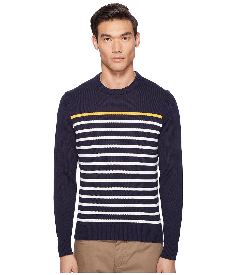 Jack Spade - Breton Stripe Crew (Dark Navy) Men's Clothing