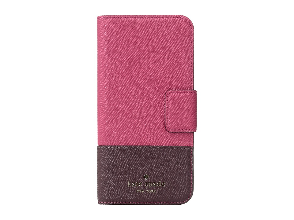 Kate Spade New York - Leather Wrap Folio Phone Case for iPhone 7 (Punch Multi) Cell Phone Case