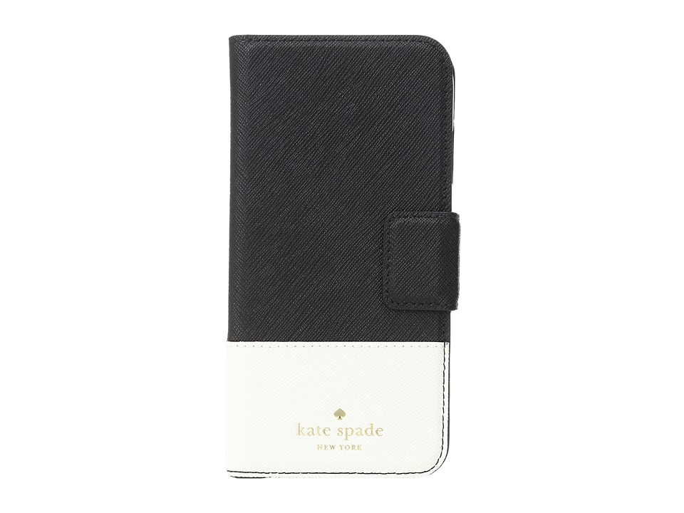 Kate Spade New York - Leather Wrap Folio Phone Case for iPhone 7 (Black/Cement) Cell Phone Case