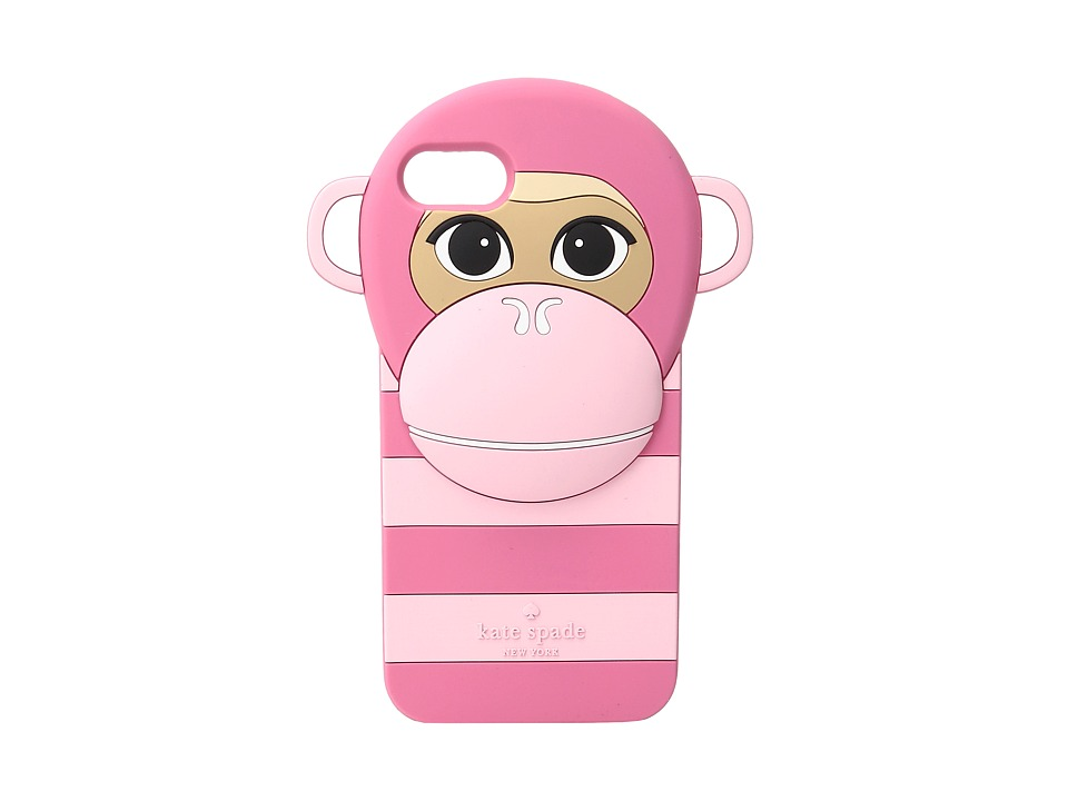 Kate Spade New York - Silicone Monkey Phone Case for iPhone 7 (Pink Multi) Cell Phone Case