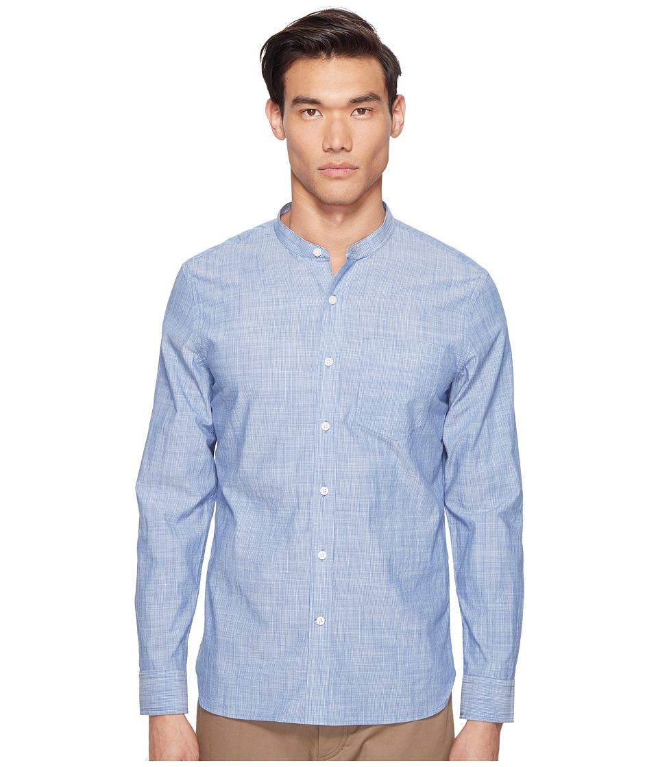 Jack Spade - Chambray Stripe Band Collar Shirt (Blue) Men's Clothing