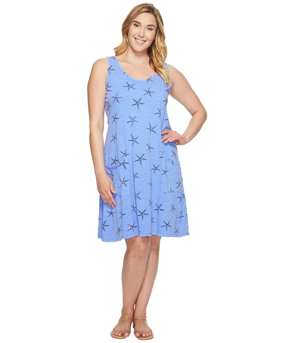 Extra Fresh by Fresh Produce - Plus Size Sea Star Drape Dress (Peri Blue) Women's Dress