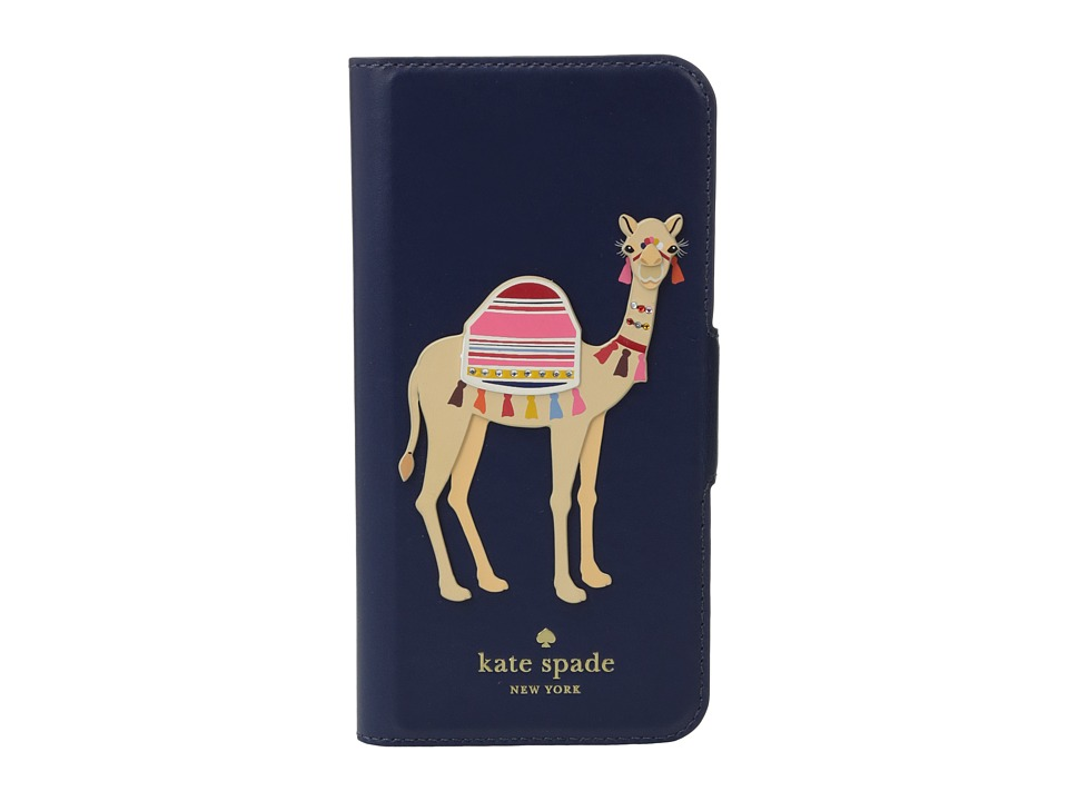 Kate Spade New York - Camel Applique Phone Case for iPhone 7 (Blue Multi) Cell Phone Case