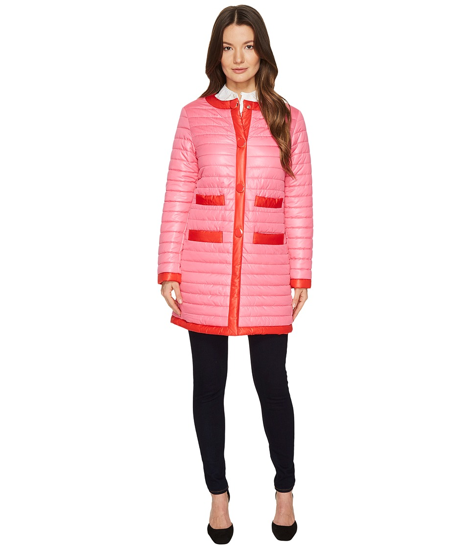 Kate Spade New York - 32 Quilted Contrast Binding Coat (Pink Swirl) Women's Coat