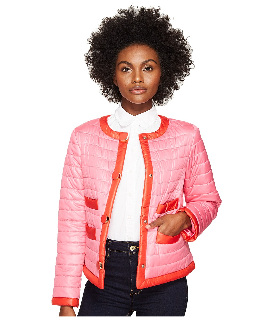 Kate Spade New York - 22 Quilted Contrast Binding Jacket (Pink Swirl) Women's Coat