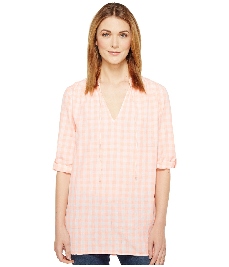 Fresh Produce - Gingham Tunic (Coral) Women's Clothing
