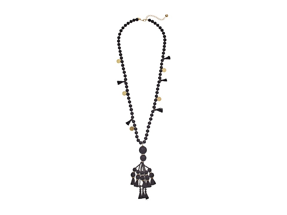 Kate Spade New York - Pretty Poms Tassel Pendant Necklace (Black) Necklace