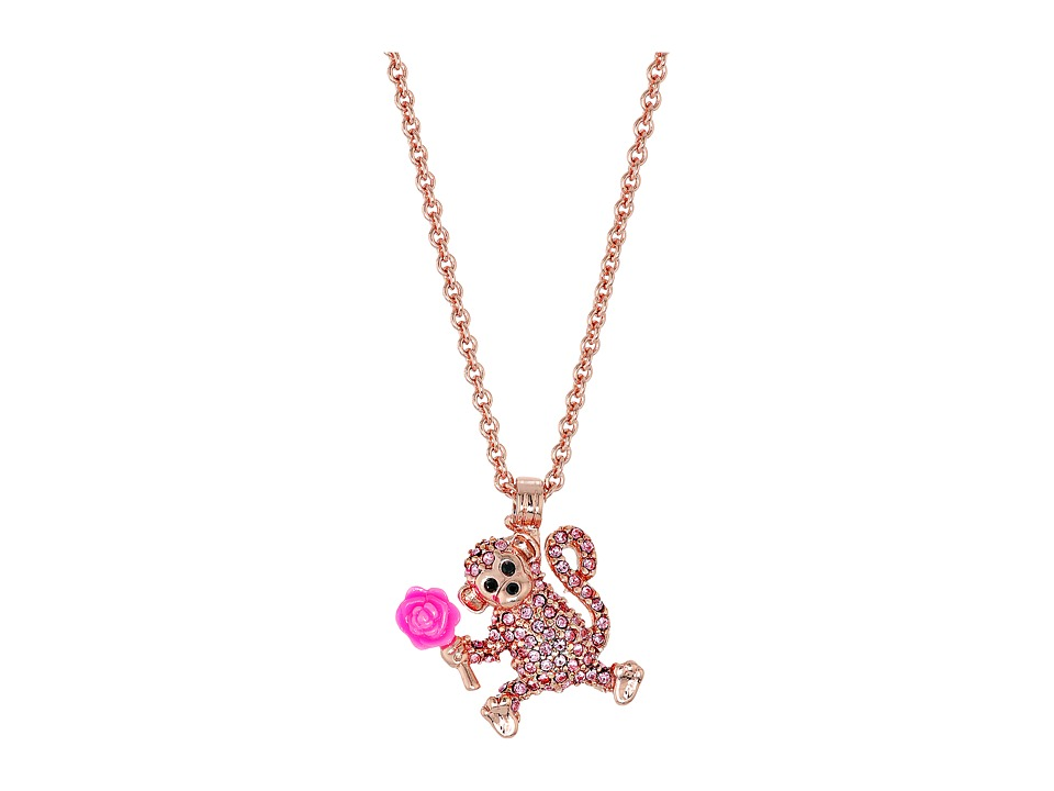 Kate Spade New York - Rambling Roses Monkey Mini Pendant Necklace (Pink Multi) Necklace