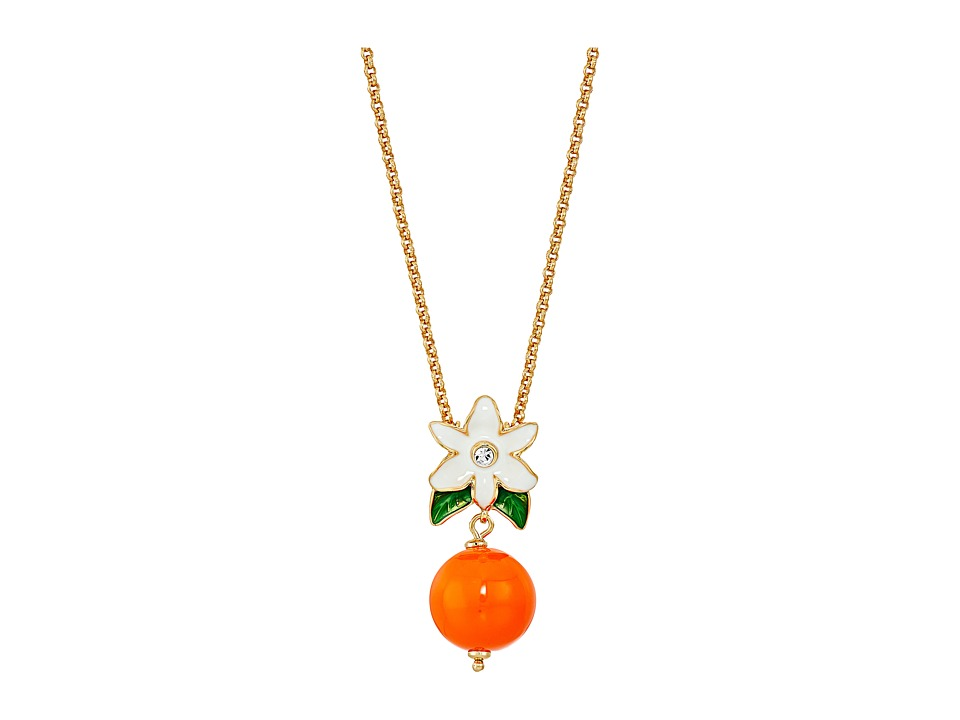 Kate Spade New York - Citrus Crush Mini Pendant Necklace (Orange Multi) Necklace