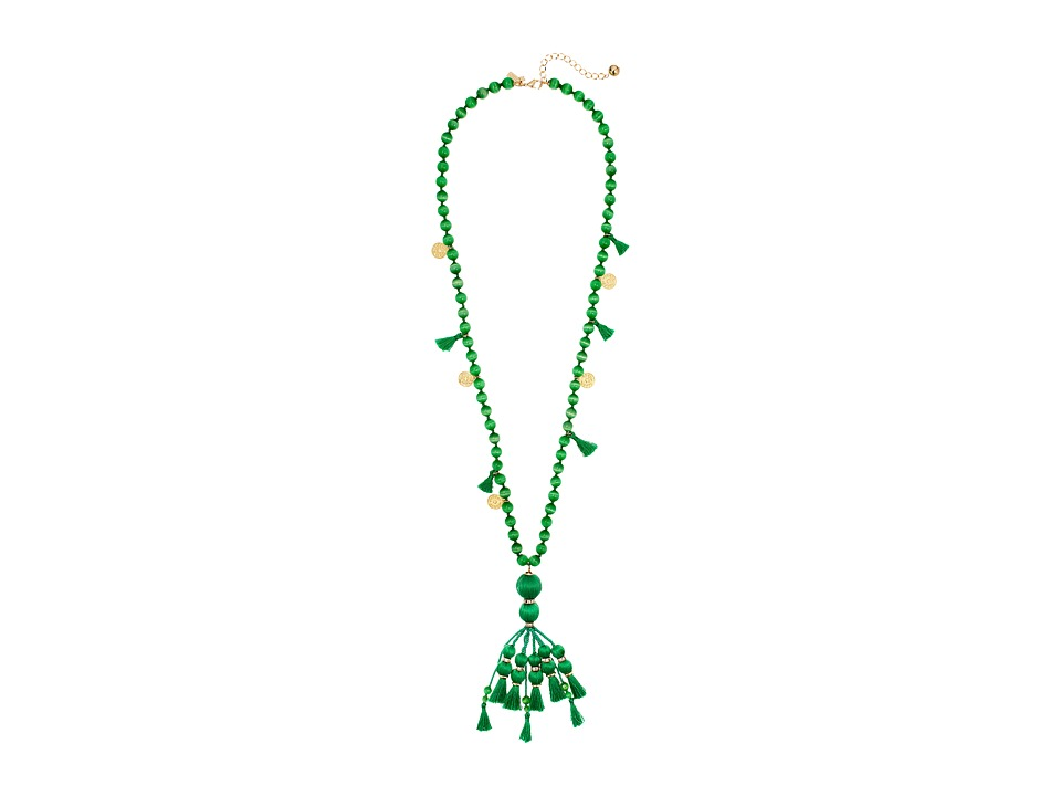 Kate Spade New York - Pretty Poms Tassel Pendant Necklace (Green) Necklace