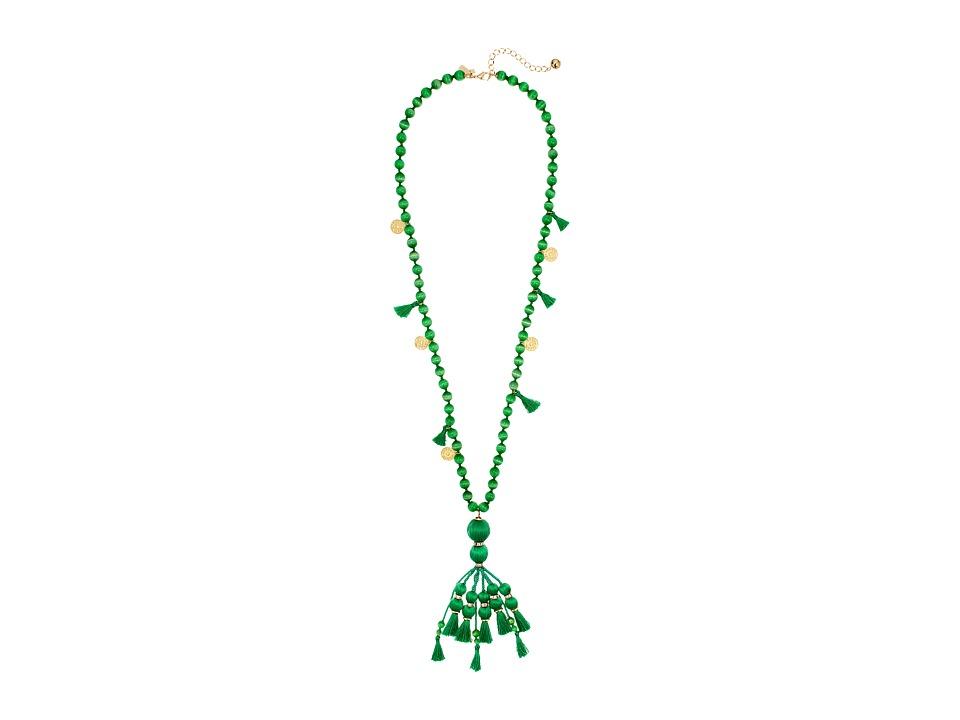 Kate Spade New York - Pretty Poms Tassel Pendant Necklace (Green) Necklace