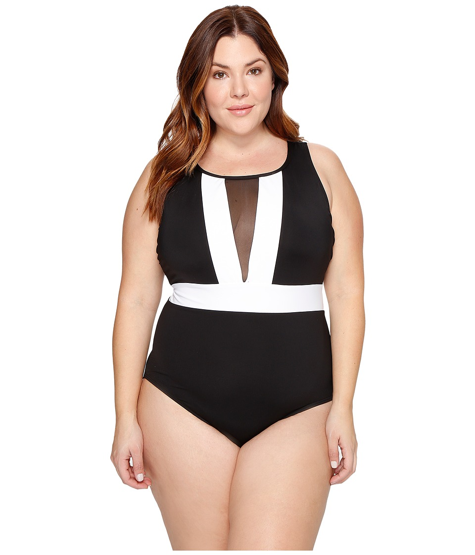 La Blanca - Plus Size Block My Way Over the Shoulder Plunge One-Piece (Black/White) Women's Swimsuits One Piece