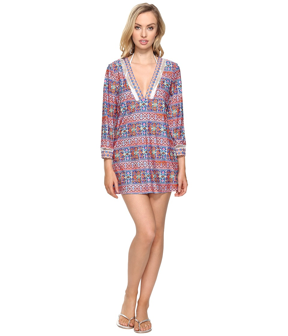 La Blanca - Corsica Tile V-Neck Tunic Cover-Up (Multi) Women's Swimwear