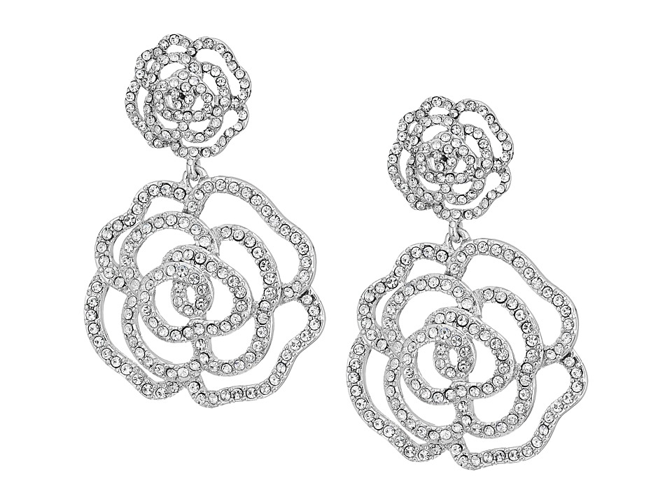 Kate Spade New York - Crystal Rose - S/O Drop Earrings (Clear/Silver) Earring